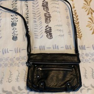 Handbags - Black, fold-over crossbody bag
